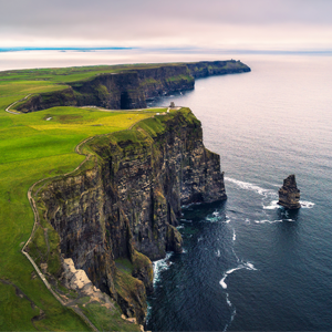 Green Ireland Cliffs next to ocean